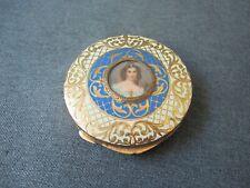 New ListingAntique hand painted woman portrait plaque enamel goldtone metal compact Italy