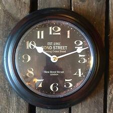 """Reloj de Pared Negro/Marrón """"Bond Street Londres Redondo Vintage/Retro Estilo."""
