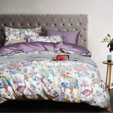 Egyptian Cotton Bed Linen Sheets Satin Bedding Sets Duvet Cover Flower Print