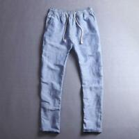 Summer Linen Thin Trousers Casual/Travel Men's Beach  Rope Tie Drawstring Pants