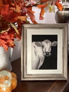 """Framed Cow Print - A5 Giclee Black & White Pen & Ink Limited Edition 10x12"""" New"""