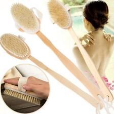 Wooden Natural Bristle Bathroom Shower Back Brush Spa Scrubber Long Handle Tool