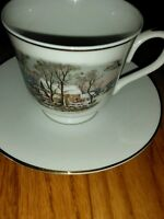 Avon Currier & Ives 1981 Fine Porcelain  Cup and Saucer Snow Scene