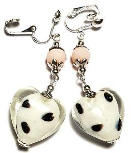 Long Silver Pink & White Heart Clip-On Earrings Glass Bead Drop Dangle Artisan