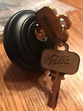Pella Entry Door Handleset Chatham Knob Black~ New With Keyed Deadbolt