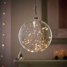 Festive Lights 20cm Plug in Indoor Hanging Glass Bauble With LED Firefly Lights