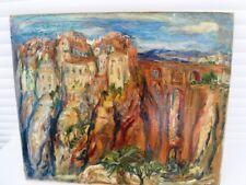 """SOURDILLON BERTHE (1895-1976) """"VILLAGE SUSPENDU"""" HUILE EXPRESSION -TOILE - 1950"""