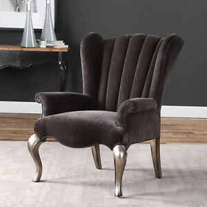 """32"""" w Owen Armchair transitional design wingback gray chenille hand made unique"""