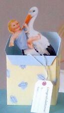 Stork Nuevo Bebé Niño Nacimiento felicitaciones Estilo Vintage 3D tarjeta pop-up.
