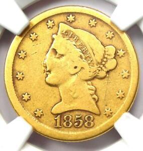 1858-D Liberty Gold Half Eagle $5 - Certified NGC Fine Details - Dahlonega Coin!