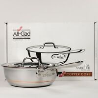 All-Clad Copper Core 2-Qt Saucier with Lid 5-Ply Stainless Steel 6212SS Saucepan