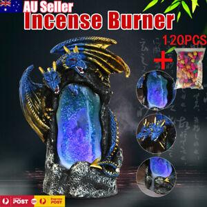 Ceramic LED Dragon Waterfall Backflow Incense Burner Smoke Censer Holder + Cones