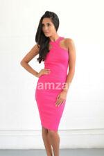 Vestiti da donna rosa in misto cotone con girocollo