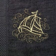 Embroidered Black 100% Egyptian Cotton Face Cloth - Sailing Ship