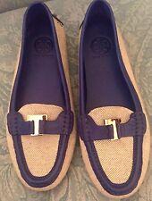 Tory Burch Casey Driver Canvas Moc Ladies Shoes Slip-on Flats size 10 ret:$275-