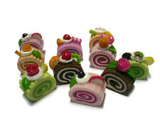 Set of 10 Mini Assorted Roll Sliced Cake Dollhouse Miniatures Food Bakery Deco-5