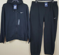 NIKE FLEECE SWEATSUIT HOODIE + PANTS OUTFIT SUIT BLACK WHITE RARE NEW (SIZE 2XL)