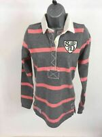 WOMENS SUPERDRY GREY& PINK STRIPE COLLARED LONG SLEEVE  TOP SIZE UK S