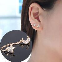 Fashion Women Gold plated Moon & Star Shape Crystal Rhinestone Stud Earrings EB
