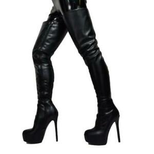 Women Over The Knee Thigh High Boots Platform Shoes Stiletto High Heel 44/47 L