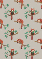 Fat Quarter Red Panda on Light Grey 100% Cotton Quilting Fabric Lewis and Irene