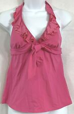 Kenneth Cole Reaction Size S Pink Ruffle Halter Tankini Swimsuit Top V-Neck Bow