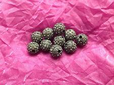 5pcs 12mm Grade A round black grey look heavy rhinestone beads findings