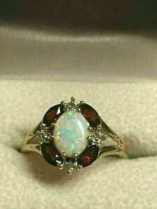 2Ct Oval Cut Fire Opal & Red Ruby Women's Engagement Ring 14K Yellow Gold Finish