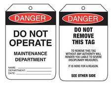 Danger Do Not Operate Maintenance  Department Lock Out Tags  90x140mm UDT104