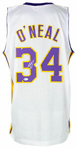 Shaquille O'Neal Signed White Custom Basketball Jersey w/Kobe 24 Patch BAS ITP