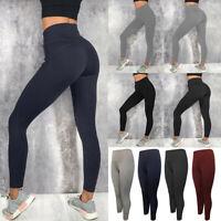 Women's High Waist Yoga Pants With Pockets Push Up Push Fitness Gym Leggings US