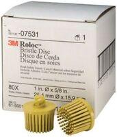 "Scotch-Brite Roloc Bristle Disc 07531 Yellow, 1"", Medium, 10 discs/bx, 4 boxes/"