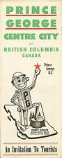1960 Road Map Booklet PRINCE GEORGE British Columbia Canada Fishing Hunting