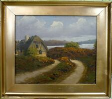 UNSIGNED! LANDSCAPE WITH COTTAGE AT THE LAKE