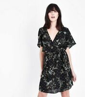 Womens Ladies Black Green Mix Floral V Neck Ditsy Wrap Tea Dress 6-20