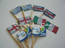 20 CUPCAKE FLAGS/TOPPERS - FIFA WORLD CUP Uruguay / Costa Rica / England / Italy