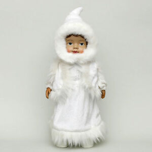 Giant Ceramic 42 CM Winter Child Doll with Fur Decorated Window Deco 70419