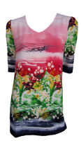 Tunic Top by EVERSUN Plus Size 10 12 14 16 18 20 Pink Green Floral Print V Neck