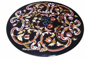 """36"""" round black Marble dining / sofa center Table Top marquetry art"""