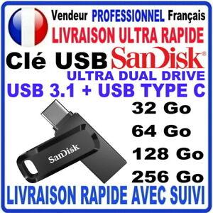 Clé USB 32Go 64Go 128Go 256Go SANDISK ULTRA DUAL DRIVE TYPE C USB3.1