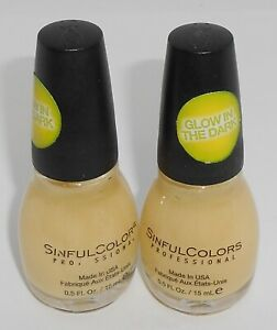2 SINFUL COLORS Nail Color Polish GLOW IN THE DARK 1353