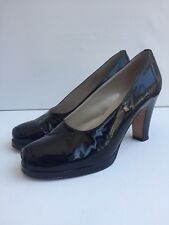 TOAST Navy Blue Patent Leather Open Peep Toe Block Heel Court Shoe - UK 5 EUR 38