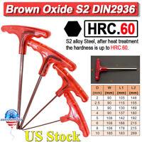 HRC.60 T-Handle Hex Allen Key Set Hexagon Key Wrench Metric 2 2.5 3 4 5 6 8 10mm