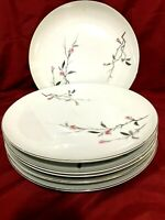 "Fine China of JAPAN 1067 Cherry Blossom Set of 6 Dinner Plates 10 1/4"""