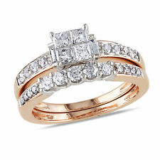 14k Pink Gold 1 Ct TDW Diamond Princess Solitaire With Accents Bridal Ring Set