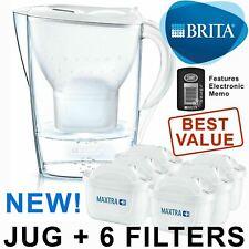 BRITA Marella MAXTRA+ Plus Water Filter Jug 2.4L + 6 Month Cartridges Pack Multi