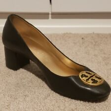 Tory Burch Chelsea Black Leather Block Heel Pumps Size 9.5