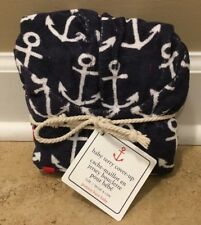 NEW Pottery Barn Kids Baby Terry ANCHOR Cover-Up Towel BLUE 6-12 Months