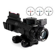 Tactical 4 X 32 Compact Rifle Scope Illuminated Red Dot Fiber Sight 20MM Rail US