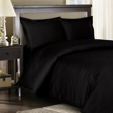 1500 Thread Count TC 100% Egyptian Cotton DUVET Set FULL / QUEEN Black Stripe